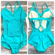 Body Wrappers - Pointelle Mesh Bustier Leotard - Child/Adult (P1182) - Aquamarine #