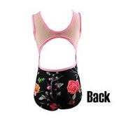 Reflectionz - Mesh Top Open Back Leotard - Child - Black Floral