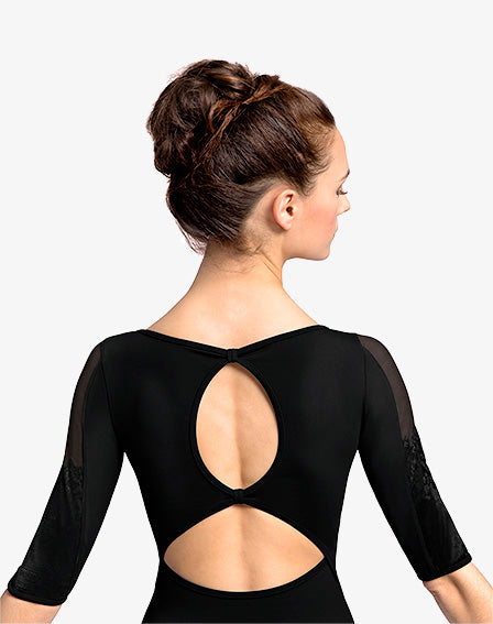 Bloch Floral 3/4 Sleeve Leotard - Adult - (L8616) - Black