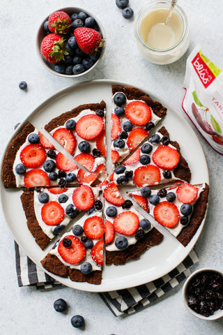 Chocolate Greek Yogurt Protein Pancake Pizza With Berries & Cherries