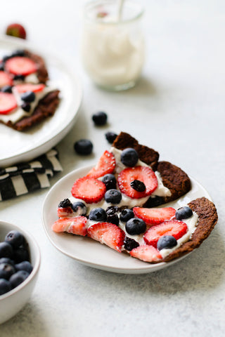 Chocolate Greek Yogurt Protein Pancake Pizza With Berries & Cherries (V, GF, OF)