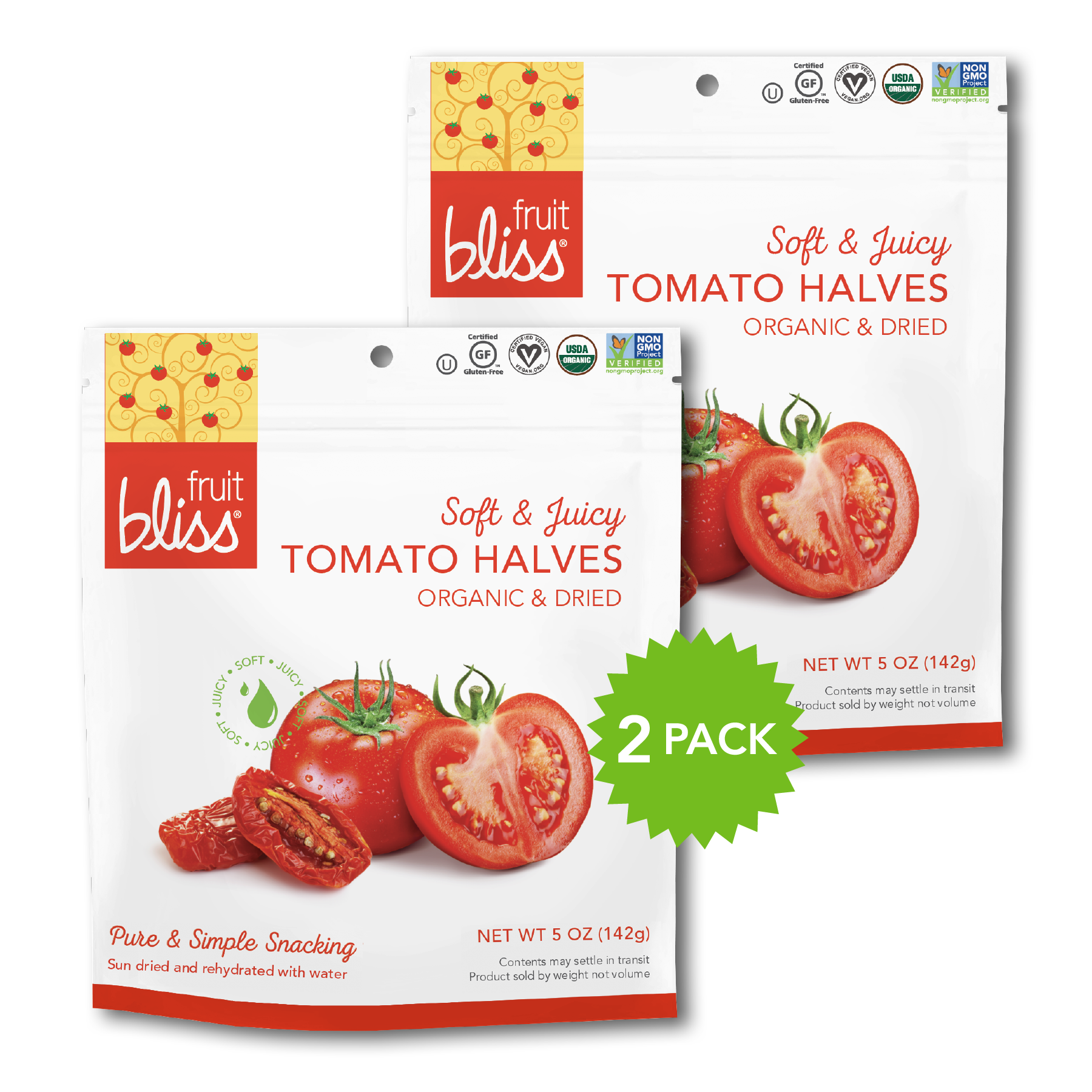 2-Pack Fruit Bliss Organic Turkish Tomato Halves Snacks (5 oz. each)