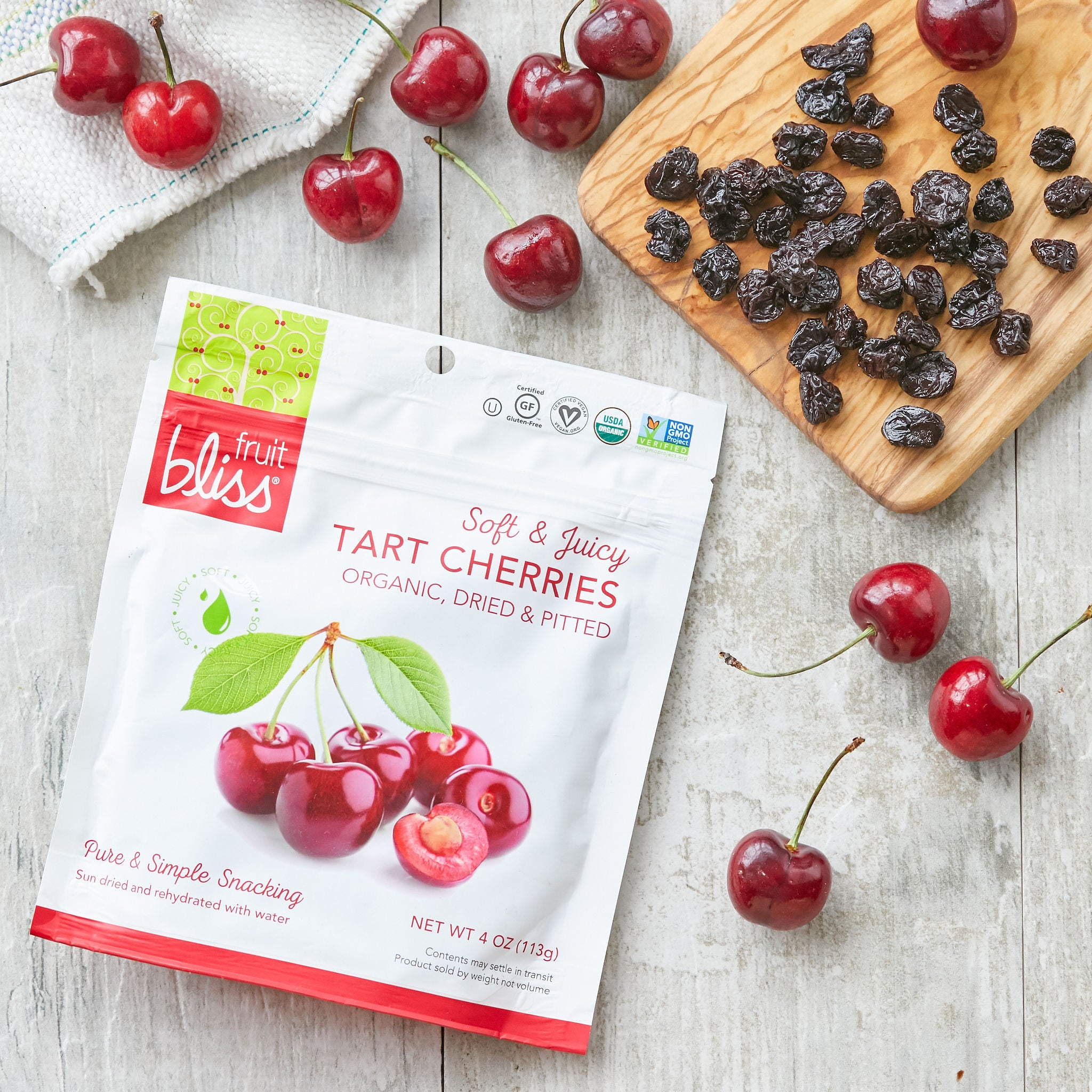 2-Pack Fruit Bliss Organic Tart Cherries Snacks (4 oz. each)