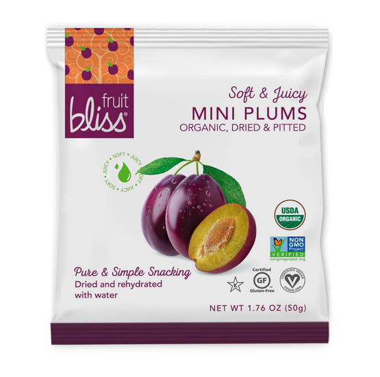 Fruit Bliss Organic Mini Plum Snacks 1.76 oz. (Caddy of 12 pouches)