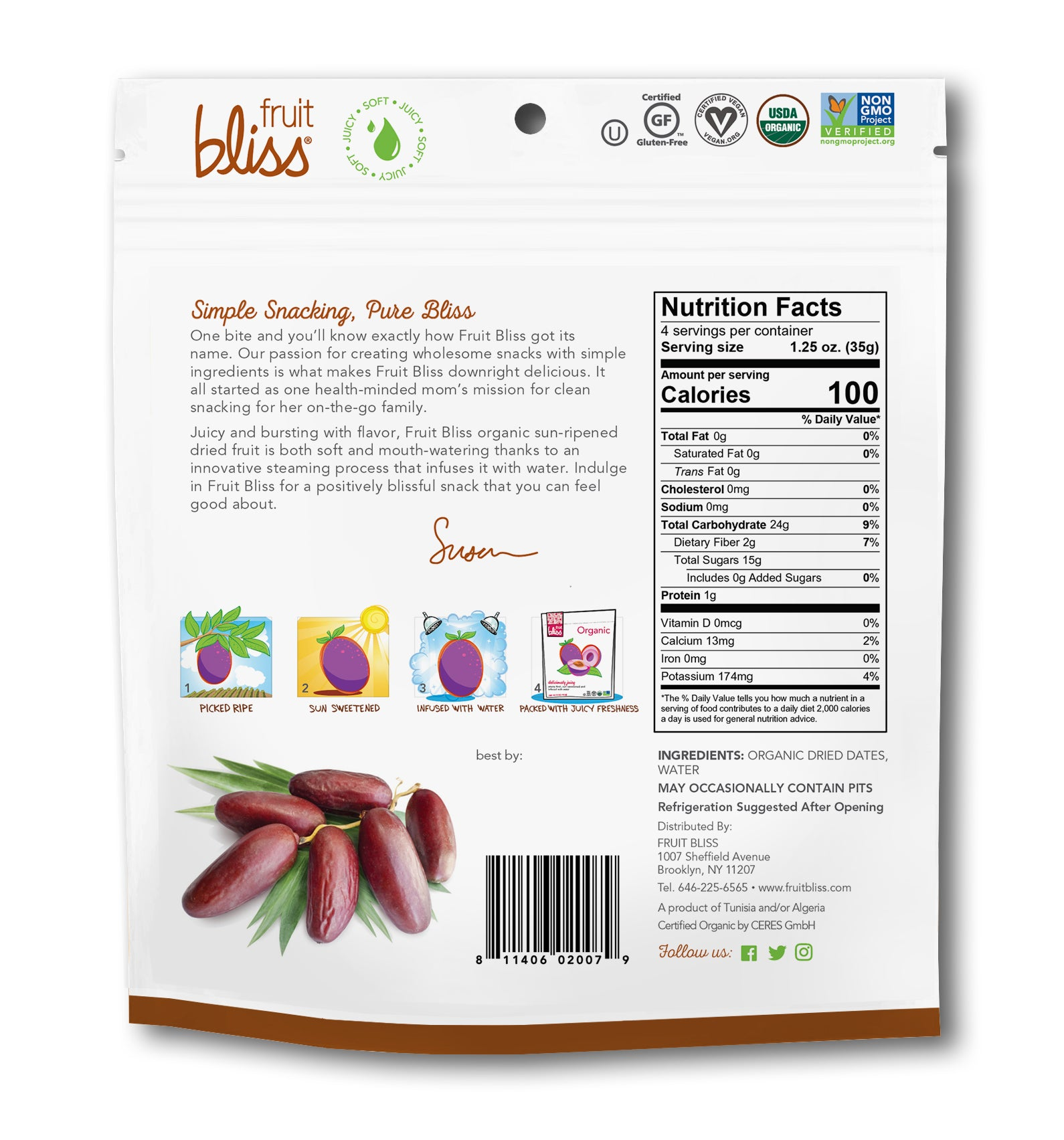 2-Pack Fruit Bliss Organic Deglet Nour Dates (5 oz. each)