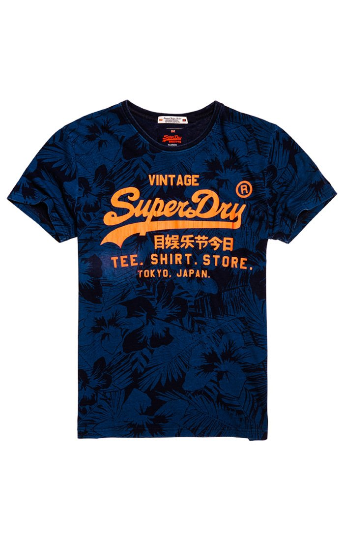 SUPERDRY SHIRT SHOP INDIGO ALL OVER PRINT TEE