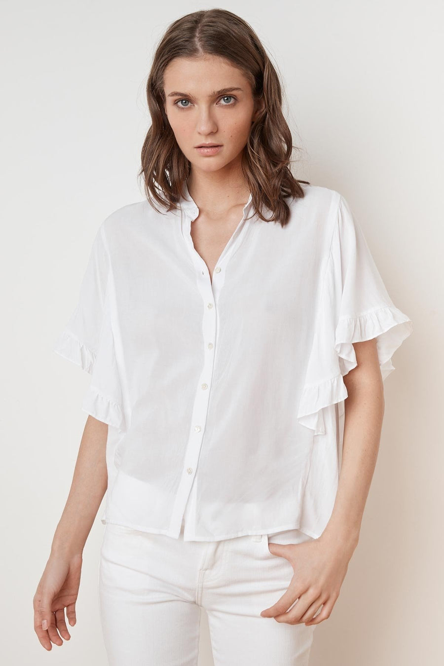 VELVET DARBY RUFFLE BUTTON-UP SHIRT