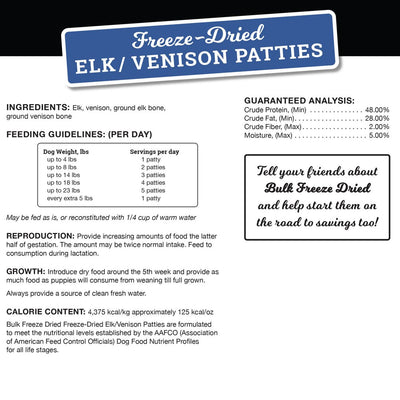 Freeze-Dried Elk | Venison Patties