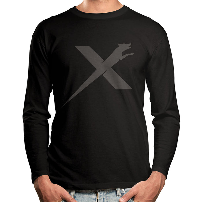 XDOG Long Sleeve Black Shirt With Charcoal Logo (Unisex)