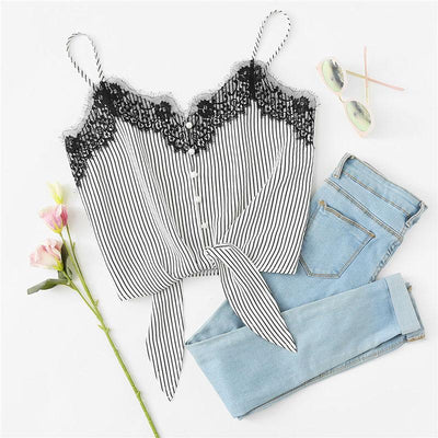 Stripe Lace Bow Tie Top