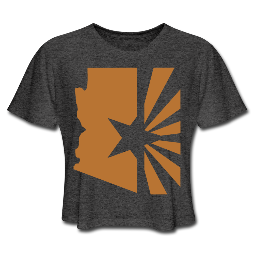 "Women's State Series ""Copper Flag"" Flowy Crop Top - deep heather"
