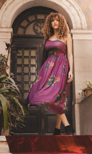 One Shoulder Bougainvillea Print Dress