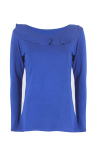 Long Sleeve Ruffle Collar Top.