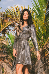 Metallic Wrap Dress.