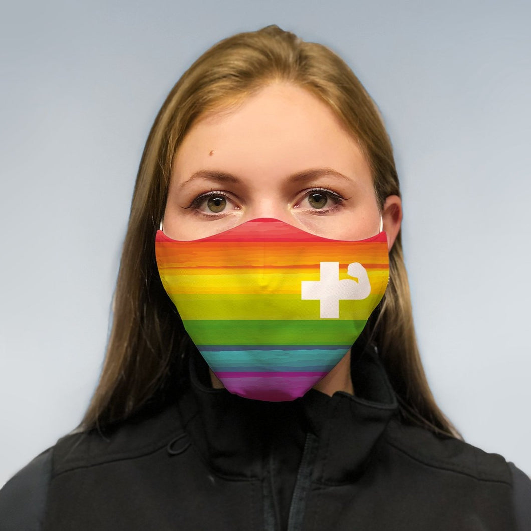 solidarity mask - rainbow power cross
