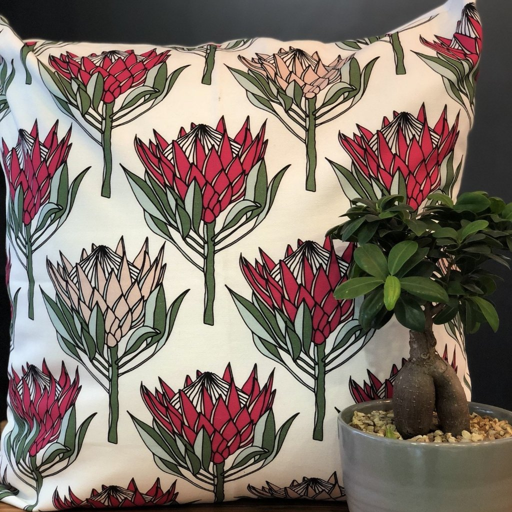 aLoveSupreme Cushion Covers 60x60 King Protea Pink on White