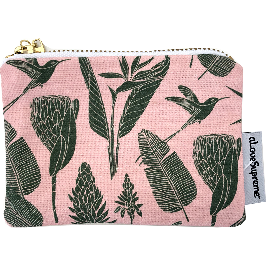 aLoveSupreme Coin Purse - Botanicals Green on Pink