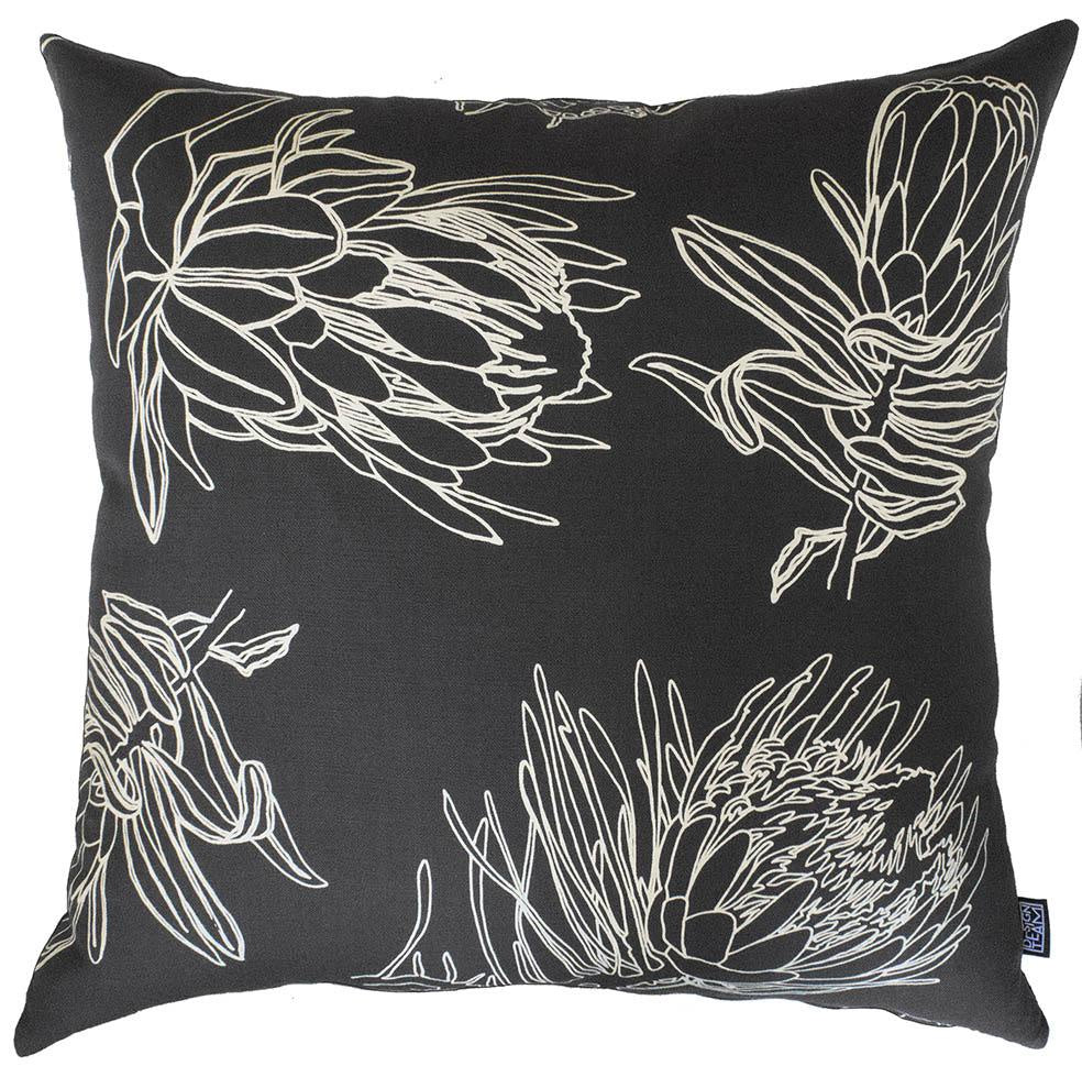 Peppertree Scatter Cushions 60x60 - Line Protea Prime Parchment Op on Charcoal