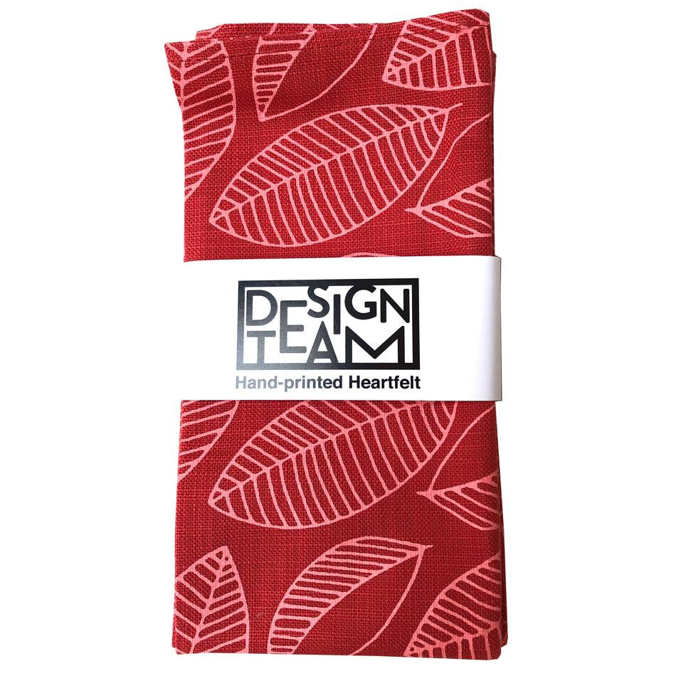 Peppertree Napkin Set of 2 - Foliage Bright Salmon on Masala
