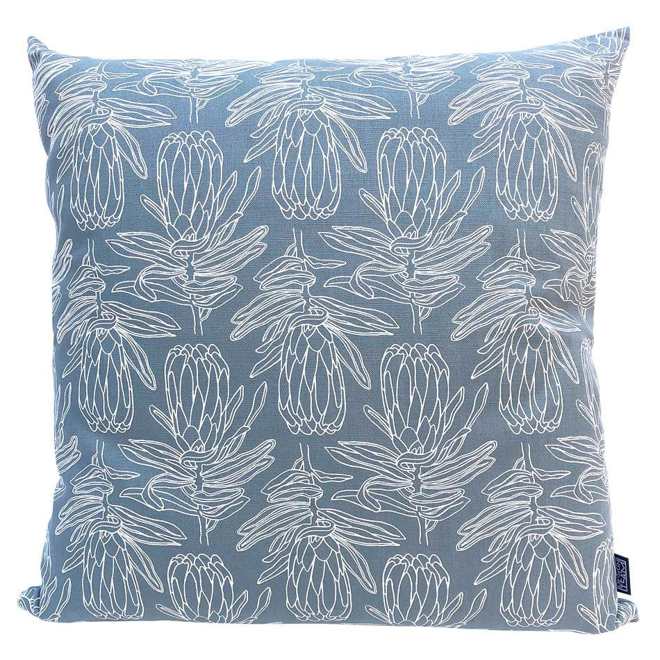 Peppertree Scatter Cushions 60x60 - Small Line Protea Parchment on Sky