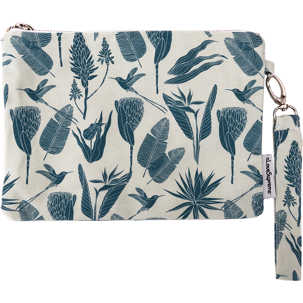 aLoveSupreme Pouch with Strap - Botanicals Gunmetal Mint