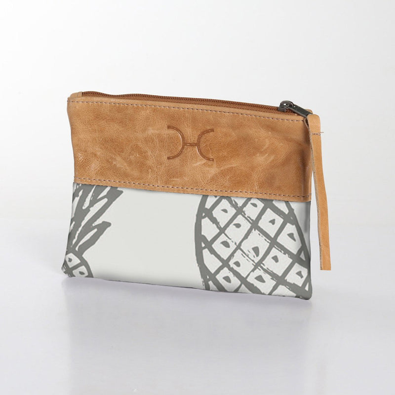 Thandana Fabric Pouch With Leather / Pineapple Dotty – Elephant Skin with Silver