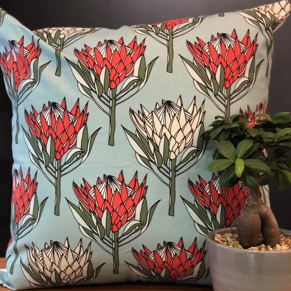 aLoveSupreme Cushion Covers 60x60 King Protea Red on Blue