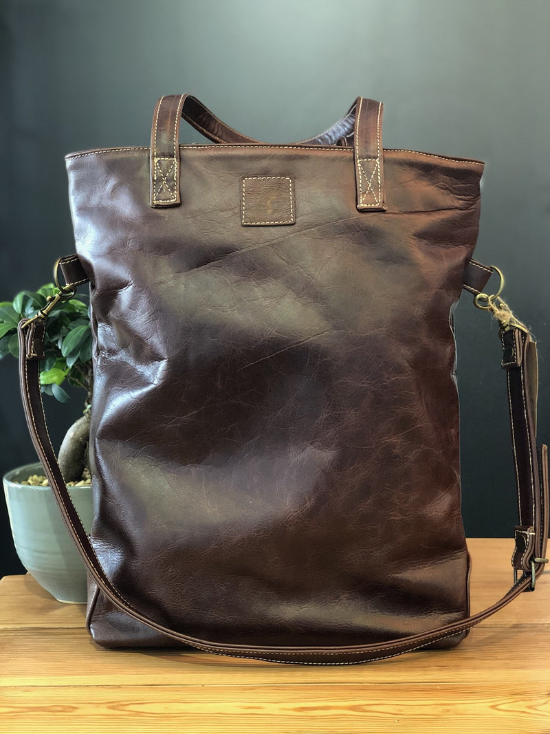 Peppertree Dark Leather Fold Over Bag