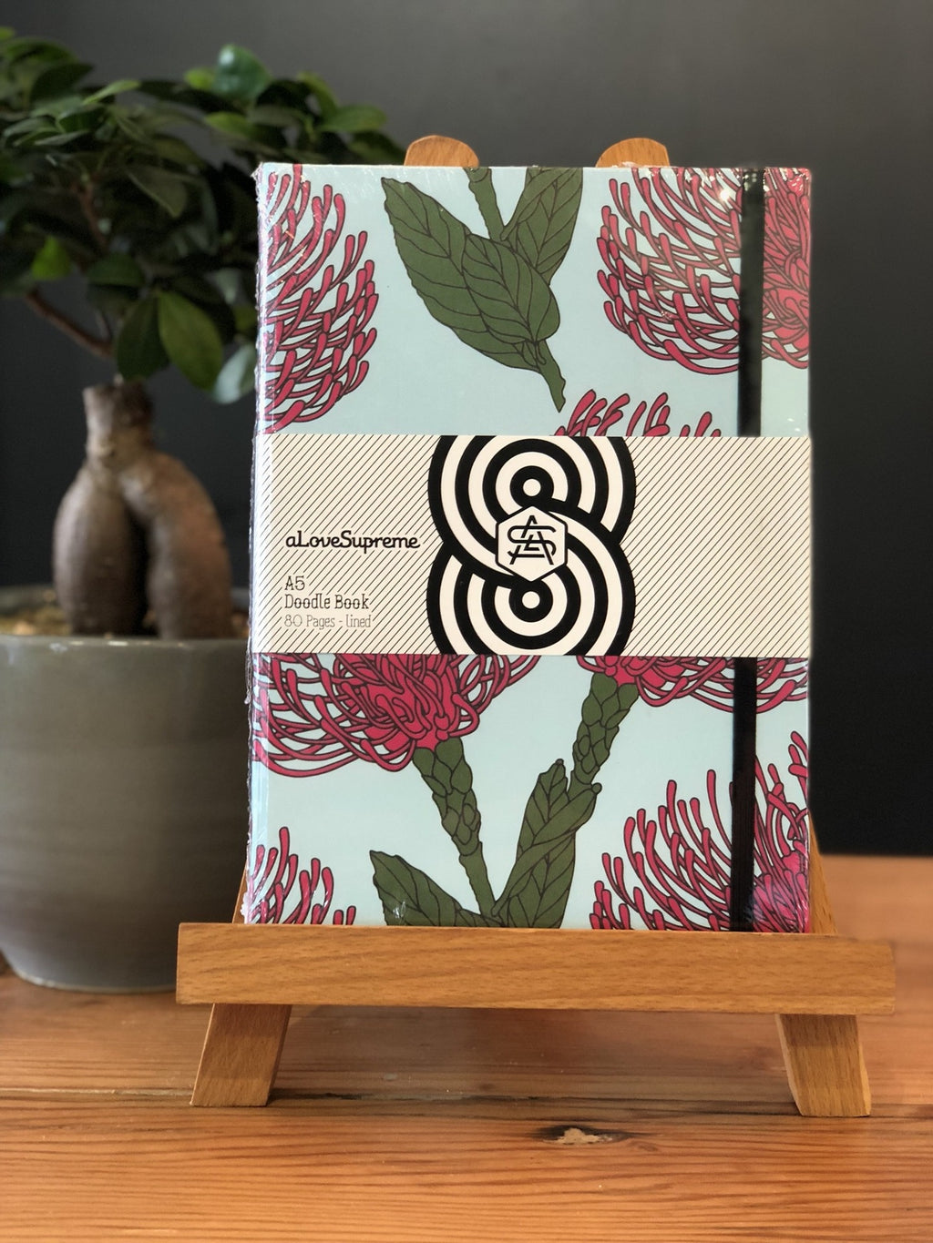 aLoveSupreme A5 Hardcover Notebook Lined / Pin Cushion Protea (Pink)