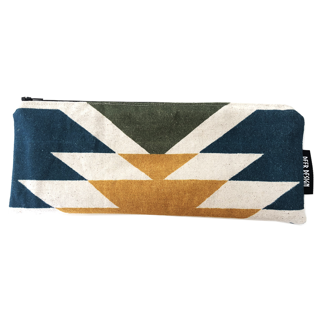 Deer Design Pencil Case - Tribal Chic Azurite