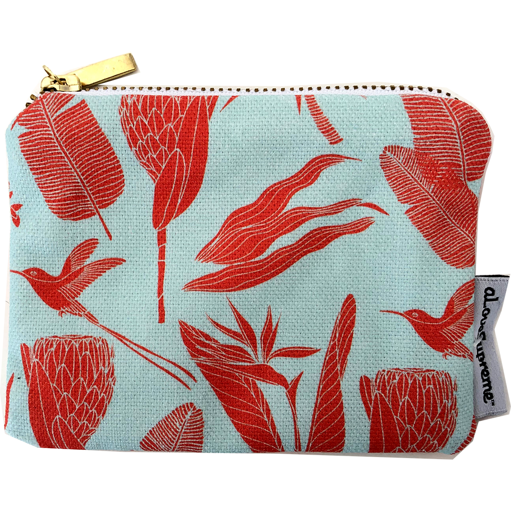 aLoveSupreme Coin Purse - Botanicals Orange on Aqua