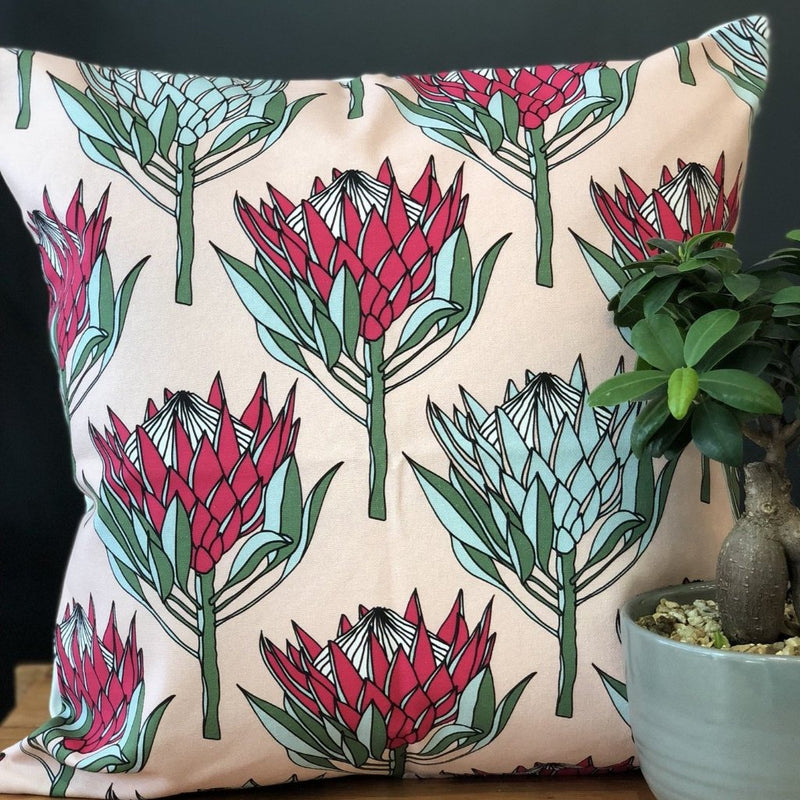 aLoveSupreme Cushion Covers 50x50 King Protea Pink on White