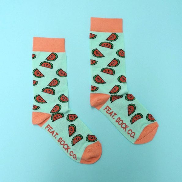 Feat Sock Co Mint & Coral Watermelon
