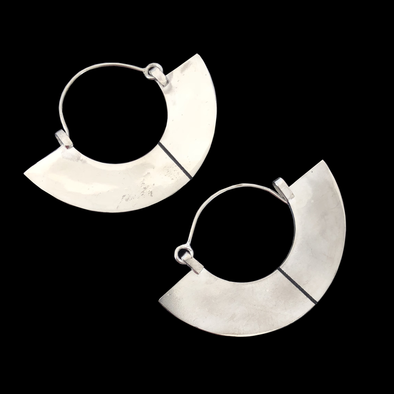 Deer Design Sterling Silver Earrings - Semicircle