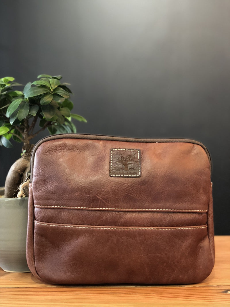 Peppertree Dark Leather Tablet Bag