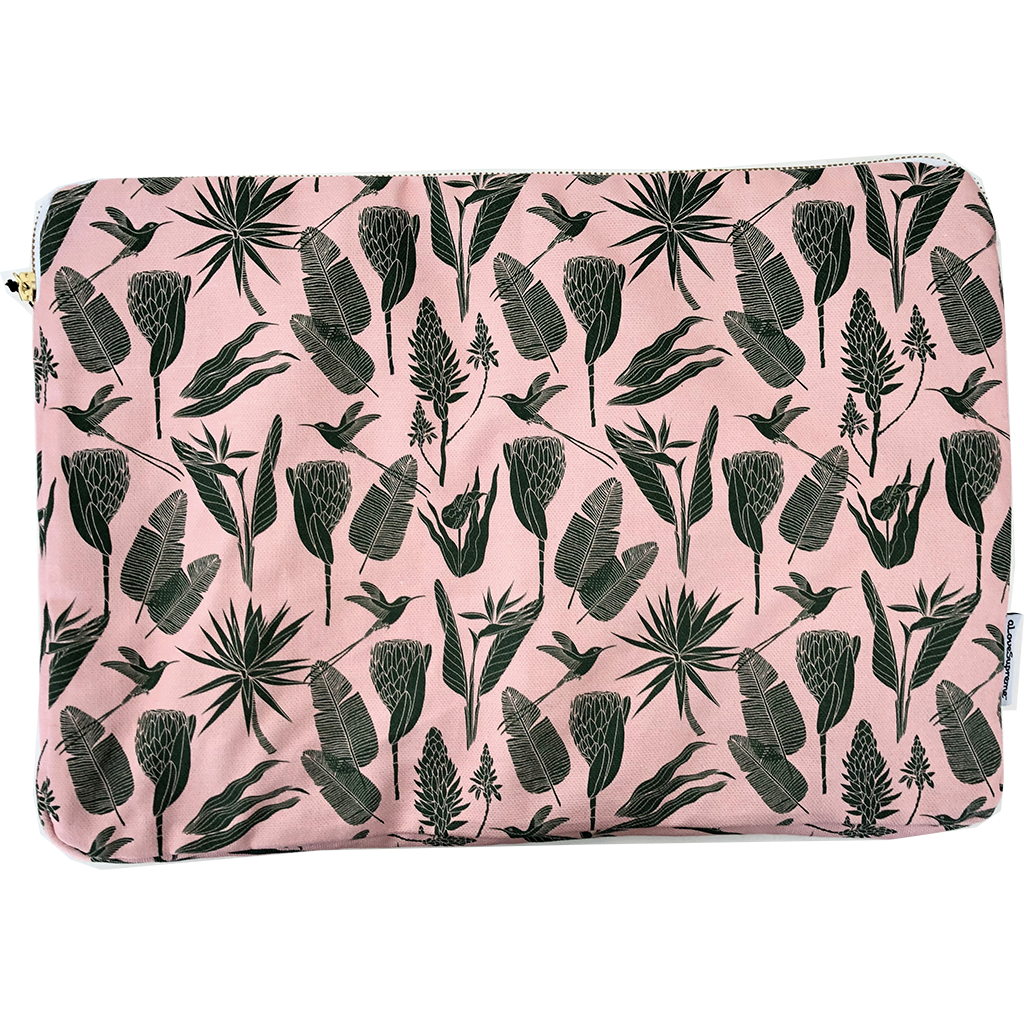 aLoveSupreme Laptop Sleeve 15in Botanical Green on Pink