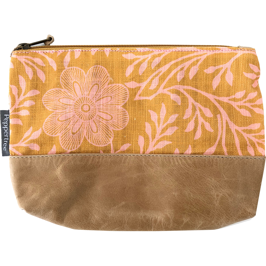 Peppertree Large Zip Purse - Khanga Flower Pickled Ginger Op On Tummeric