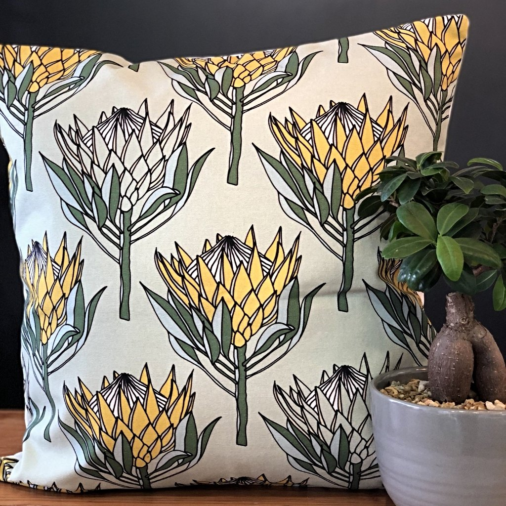 aLoveSupreme Cushion Covers 50x50 King Protea Yellow on Mint