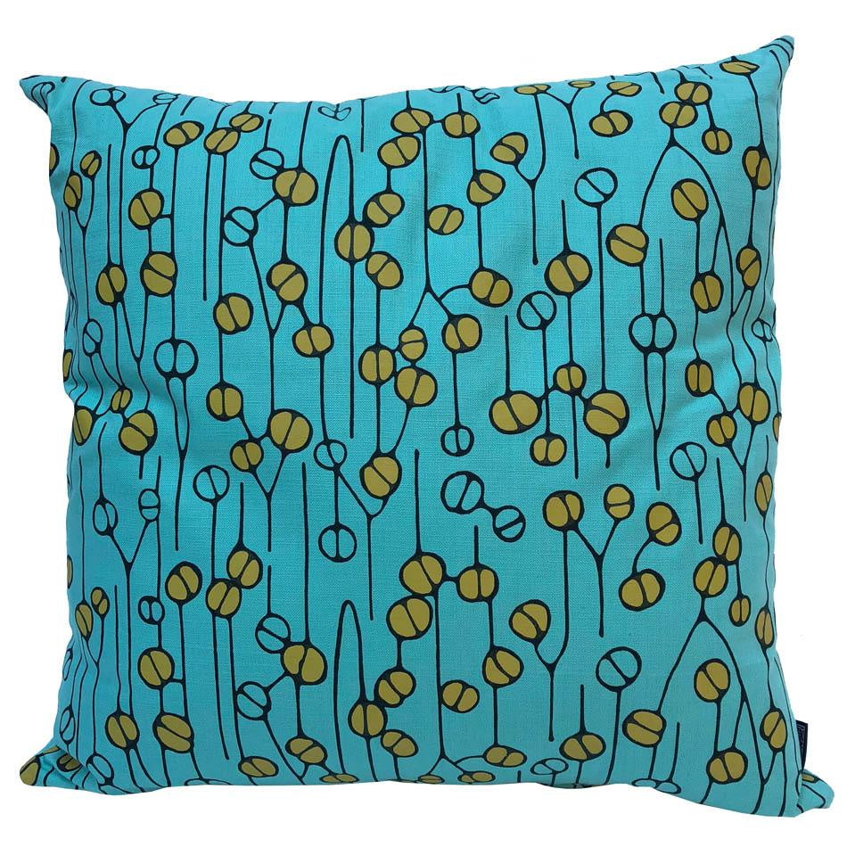 Peppertree Scatter Cushions 60x60 - Lithops & Stencil Atlantic CB Line P Lime OP On Aqua