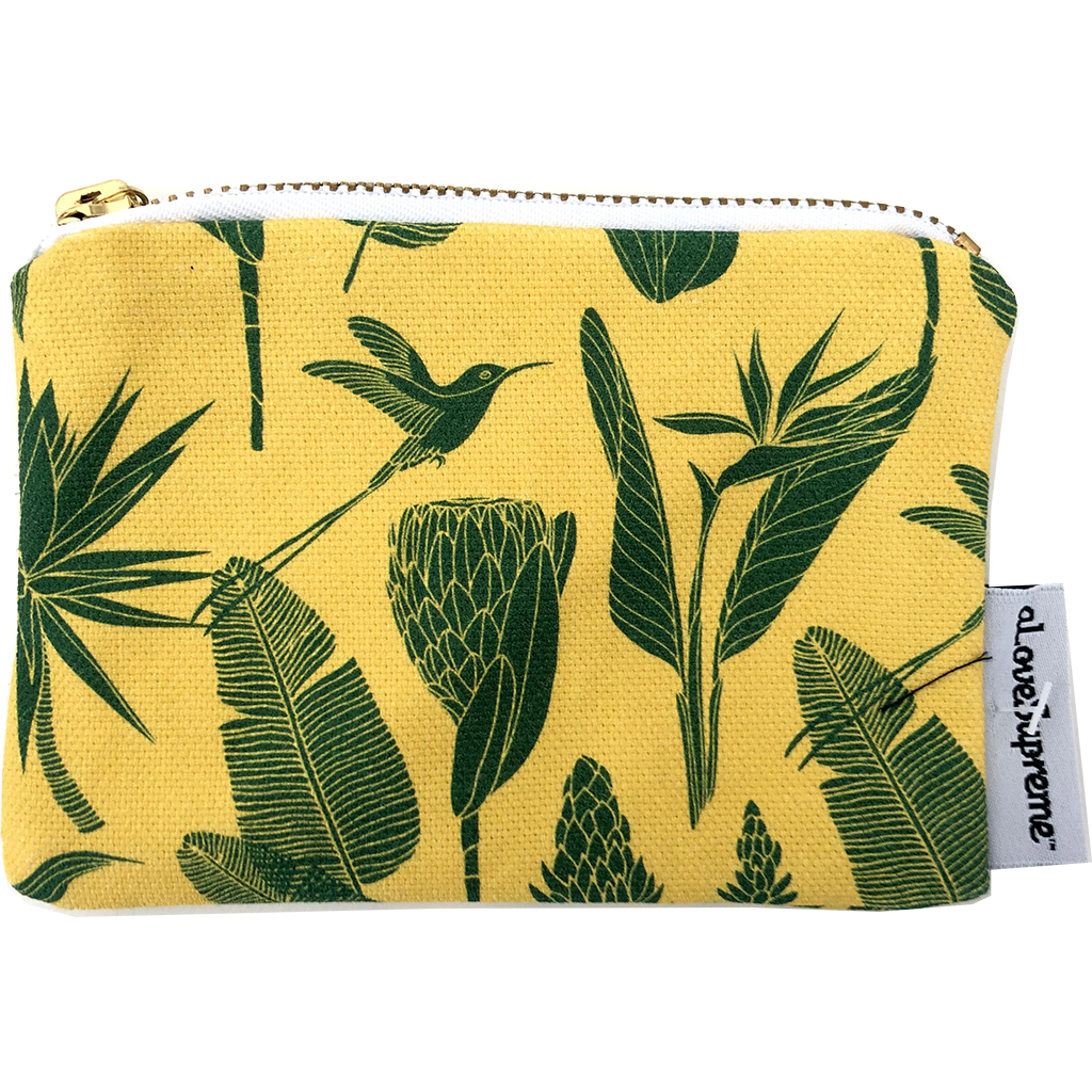 aLoveSupreme Coin Purse - Botanicals Green on Yellow