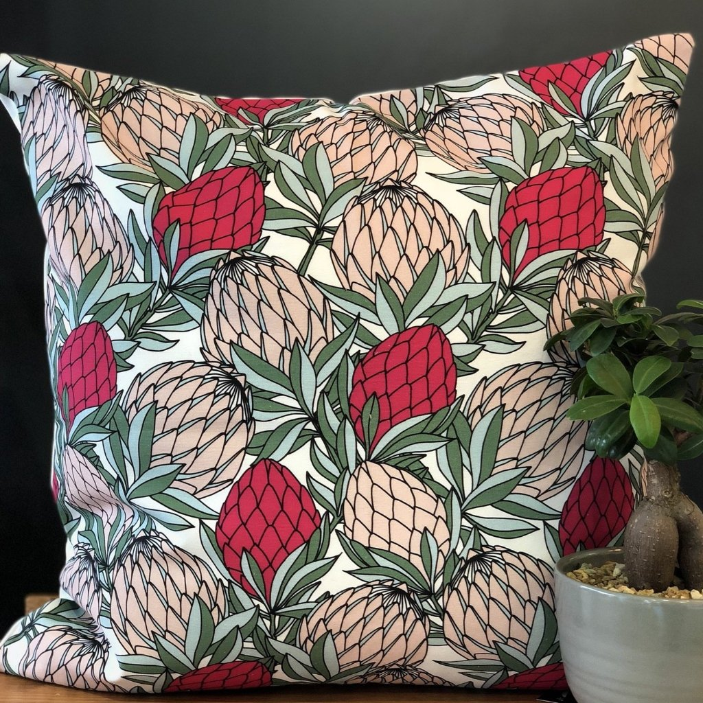 aLoveSupreme Cushion Covers 60x60 Leaves Pink on White