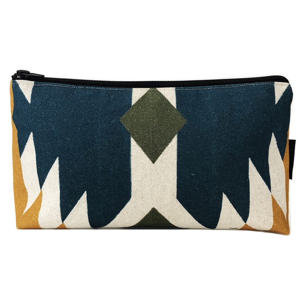 Deer Design Large Makeup Bag - Tribal Chic Azurite