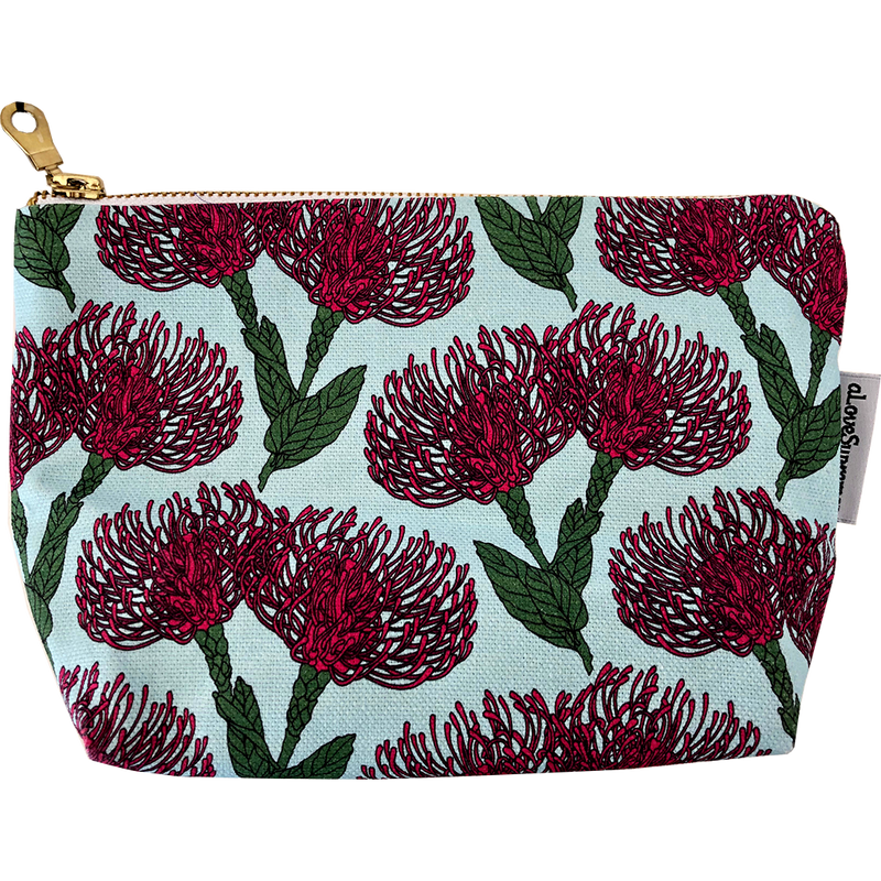 aLoveSupreme Makeup Pouch - Pin Cushion Protea Pink on Blue