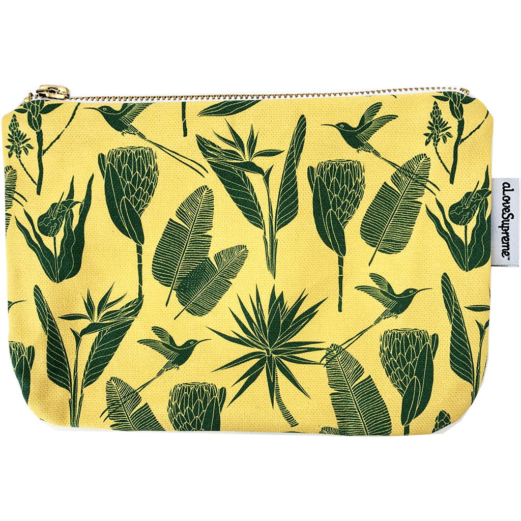 aLoveSupreme Pouch Metal Zip - Botanicals Green on Yellow