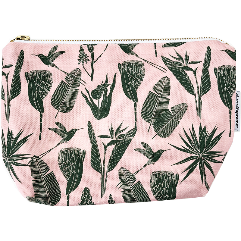 aLoveSupreme Makeup Pouch - Botanicals Green on Pink