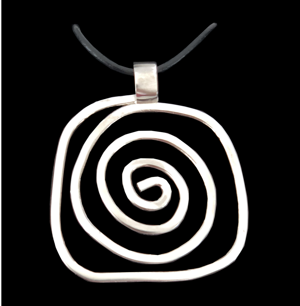 Deer Design Sterling Silver Necklace - Square Squiggle