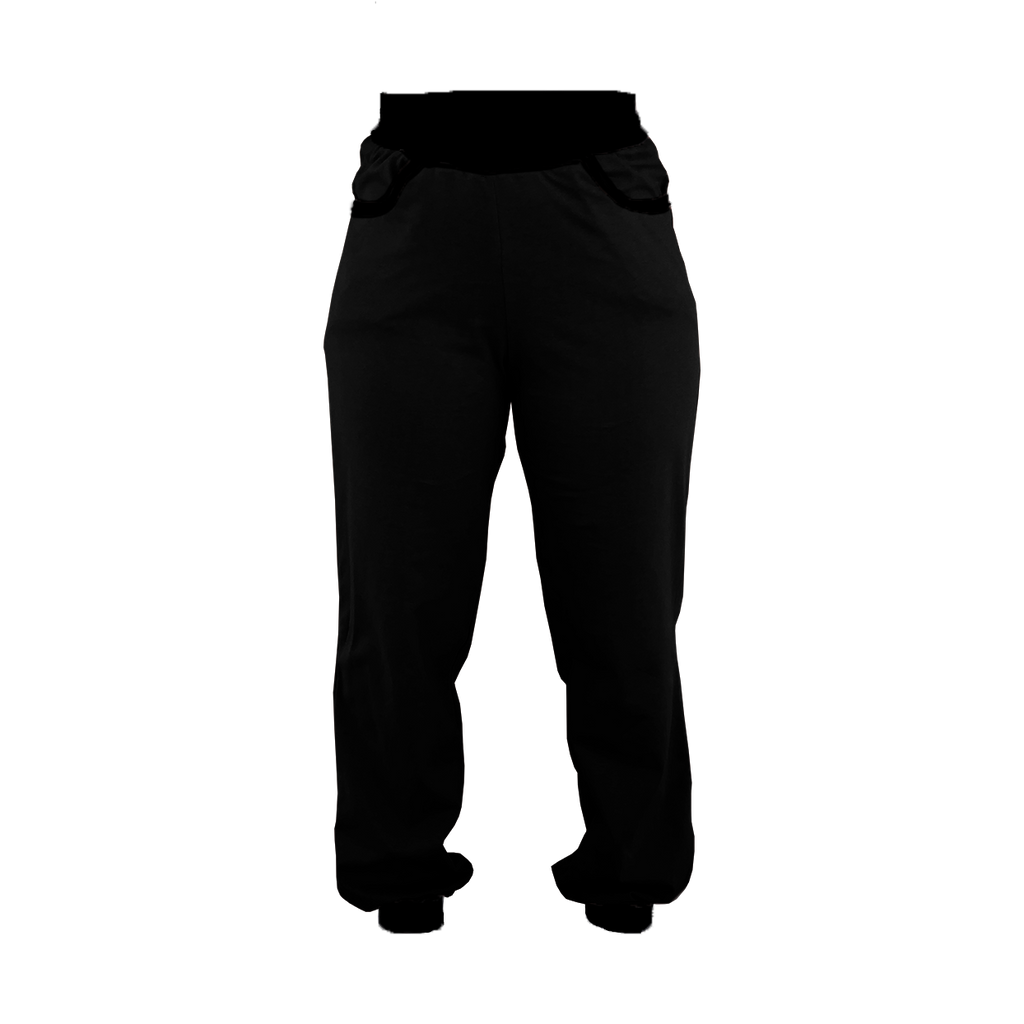Black with Black Trim High-Waisted Sweatpants