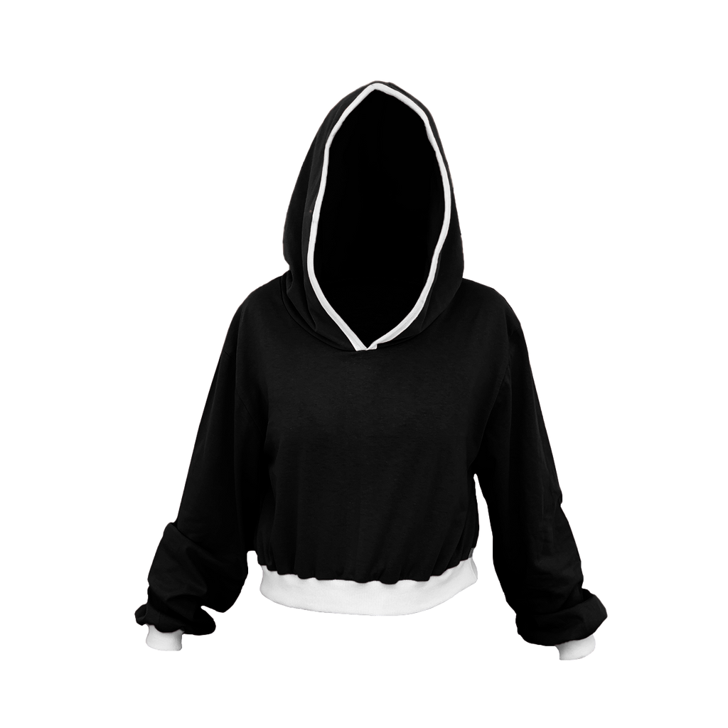 Black with White Trim Cropped Hoodie