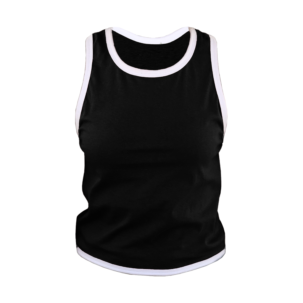 Black with White Trim Cross Back T-Shirt
