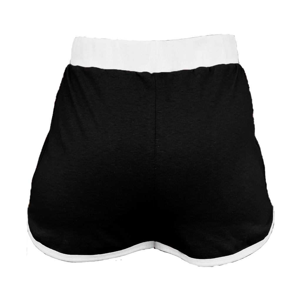 Black with White Trim High-Waisted Shorts